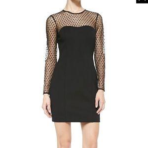 Ali Ro Black Long-Sleeve Polka Dot Illusion Dress